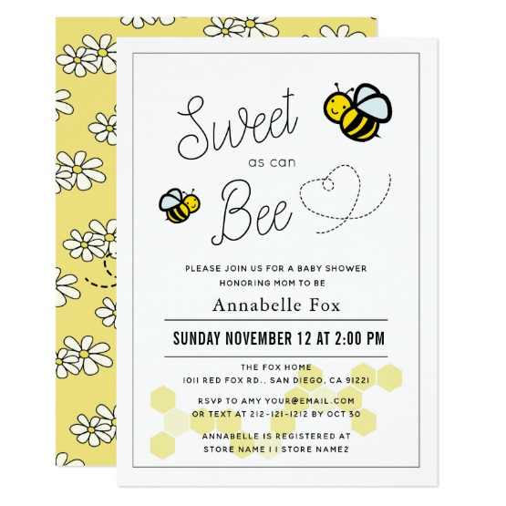 Sweet As Can Bee Gender Neutral Yellow